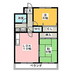 ロイヤルサンコーB棟[3階]の間取り