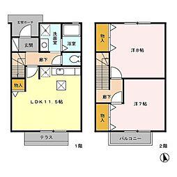 ラディB[2階]の間取り