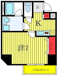 都営三田線 西台駅 徒歩9分の賃貸マンション 2階1Kの間取り