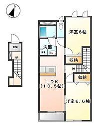 香川県丸亀市飯野町東分の賃貸アパートの間取り