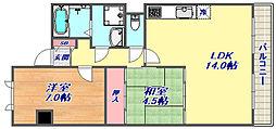 レジデンス本山[4階]の間取り