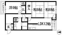 サンライズ清和台[4階]の間取り