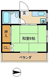 コーポ円山[302号室]の間取り