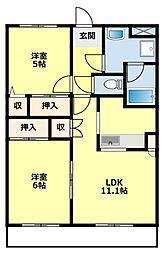 愛知県豊田市市木町9丁目の賃貸アパートの間取り