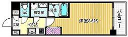 JR東西線 海老江駅 徒歩14分の賃貸マンション 3階1Kの間取り