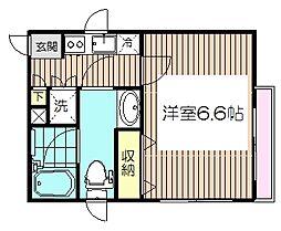 JR埼京線 板橋駅 徒歩4分の賃貸マンション 2階1Kの間取り