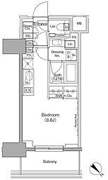 東京メトロ有楽町線 月島駅 徒歩1分の賃貸マンション 5階ワンルームの間取り