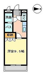 メルヴェーユ宮崎[208号室]の間取り