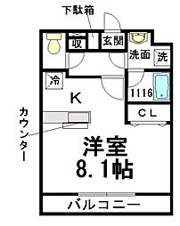 東京都八王子市大和田町5丁目の賃貸マンションの間取り