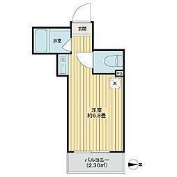東京メトロ有楽町線 江戸川橋駅 徒歩3分の賃貸アパート 3階ワンルームの間取り