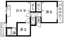 西長居マンション[3階]の間取り
