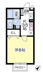 東京都八王子市高尾町の賃貸アパートの間取り