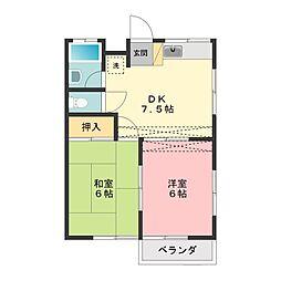 名古屋第2コーポ[2階]の間取り