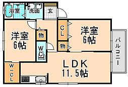 兵庫県伊丹市荒牧5丁目の賃貸アパートの間取り
