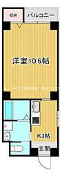 京阪本線 古川橋駅 徒歩23分の賃貸マンション 2階1Kの間取り