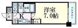 ファーストフィオーレ新梅田 7階1Kの間取り