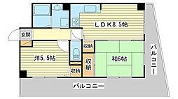 ライオンズマンション姫路[402号室]の間取り
