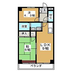 サンパルK・K[1階]の間取り
