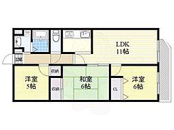 北大阪急行電鉄 桃山台駅 徒歩11分の賃貸マンション 6階3LDKの間取り