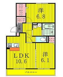 千葉県柏市藤心5丁目の賃貸アパートの間取り