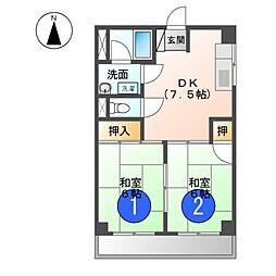 サンハイツ睦[4階]の間取り