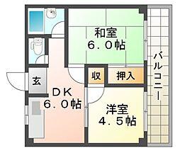 エスティ園田[3階]の間取り