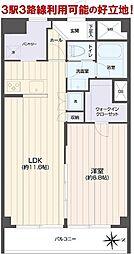 第23宮庭マンション 8階1LDKの間取り