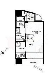 ティエドゥール麻布台 8階ワンルームの間取り