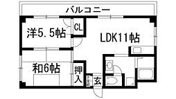 兵庫県伊丹市中野北3丁目の賃貸マンションの間取り