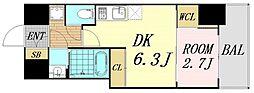 セレニテ桜川駅前プリエ 2階1DKの間取り