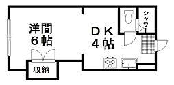 メルセ11 3階1DKの間取り