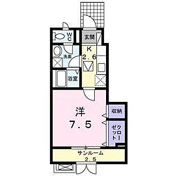 新潟県新潟市中央区関屋大川前1丁目の賃貸アパートの間取り