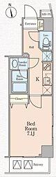 西武新宿線 上石神井駅 徒歩10分の賃貸マンション 8階1Kの間取り