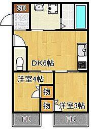 山陽電鉄本線 西二見駅 徒歩13分の賃貸アパート 1階2DKの間取り