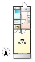 愛知県名古屋市中村区並木2の賃貸マンションの間取り