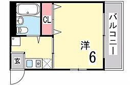 兵庫県神戸市東灘区西岡本6丁目の賃貸アパートの間取り