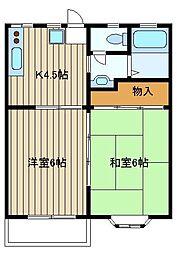 東京都練馬区石神井台3の賃貸アパートの間取り