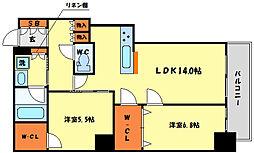 阿波座ライズタワーズフラッグ46 OMPタワー 43階2LDKの間取り
