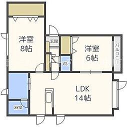 北海道札幌市東区北四十二条東12丁目の賃貸アパートの間取り