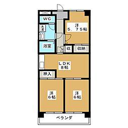 静岡県静岡市葵区二番町の賃貸マンションの間取り