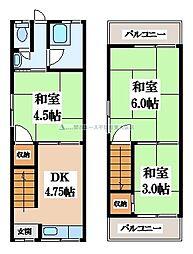 [テラスハウス] 大阪府大東市北条3丁目 の賃貸【大阪府 / 大東市】の間取り
