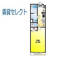 JR常磐線 馬橋駅 徒歩10分の賃貸マンション 3階1Kの間取り