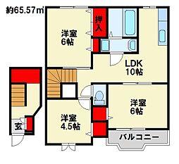 プランタンコート Ⅱ[2階]の間取り