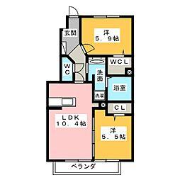静岡県静岡市清水区駒越西1丁目の賃貸アパートの間取り