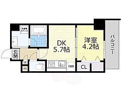 JR東海道・山陽本線 吹田駅 徒歩5分の賃貸マンション 7階1DKの間取り