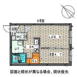 仮)二十四軒1-6MS[3階]の間取り