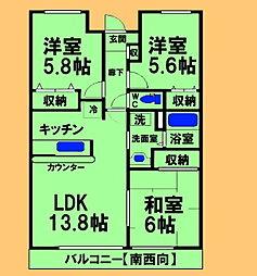JR横浜線 古淵駅 徒歩11分の賃貸マンション 2階3LDKの間取り