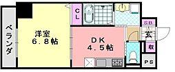 フォレストインサイド深井 2階1DKの間取り