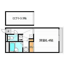 Osaka Metro谷町線 守口駅 徒歩9分の賃貸マンション 2階1Kの間取り
