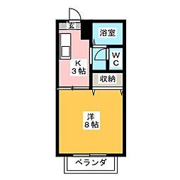 エクセール松岡B[1階]の間取り